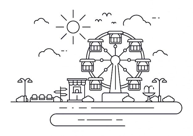 Иллюстрация игровая площадка или развлечения с колесом обозрения. пейзаж городского парка.