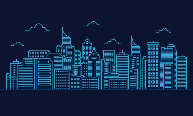 Линия дизайна иллюстрации город или горизонт