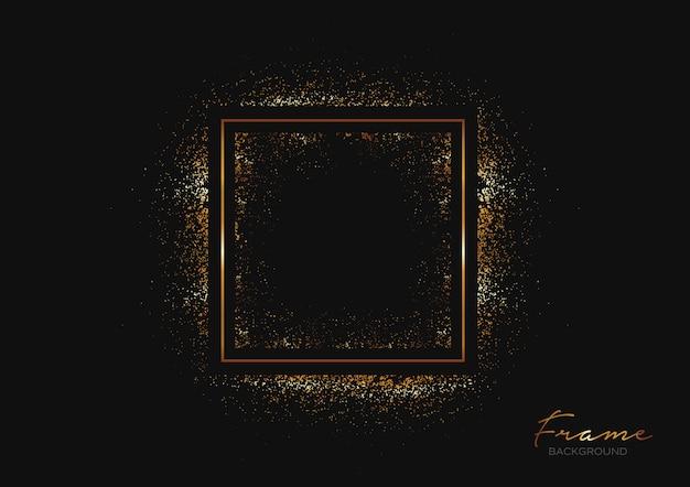フレームとゴールドのキラキラと暗い背景