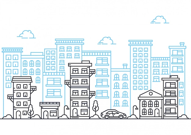 Векторная иллюстрация городской линии