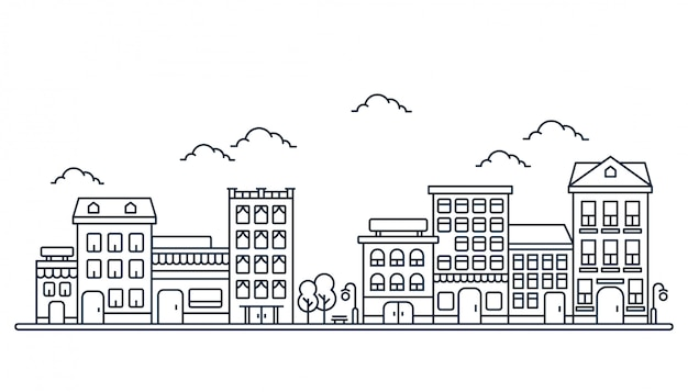 線のスタイルの建物図