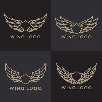 バード・イーグルとウィングのロゴ・テンプレートのセット
