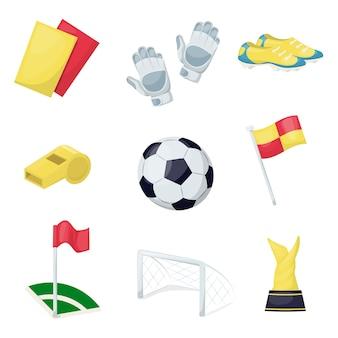 サッカースポーツ用品サッカーボール趣味トレーニング。スポーツウェアのプロ用具を演奏する。ランニングシューズカードフラグ、賞、スニーカー。