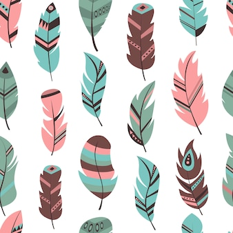 部族の羽のシームレスパターン