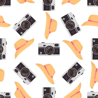 かわいいレトロなカメラと写真カメラのシームレスパターン。