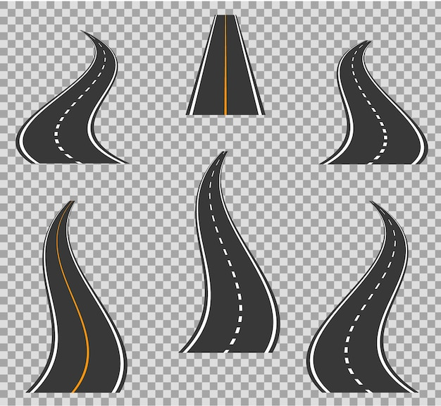 Изгиб дорожных иконок тропинка и высокие пути. геометрический дизайн кривых дорог