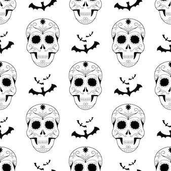 ハロウィーンのシームレスパターン怖い頭蓋骨。