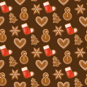 ジンジャーブレッドハウスクリスマスのシームレスパターン