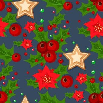 クリスマスの小ぎれいなな枝とヒイラギの果実と星のイラスト冬の休日クリスマス包装紙。
