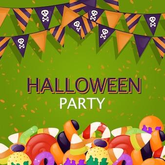 ハロウィーン背景トリックオアトリートお菓子食品パーティーイラスト。秋の不気味な怖い招待状