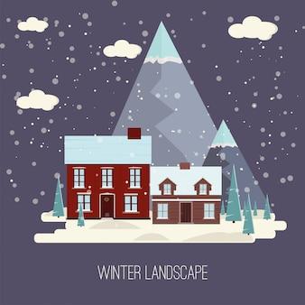 冬の雪都市の田園風景都市村