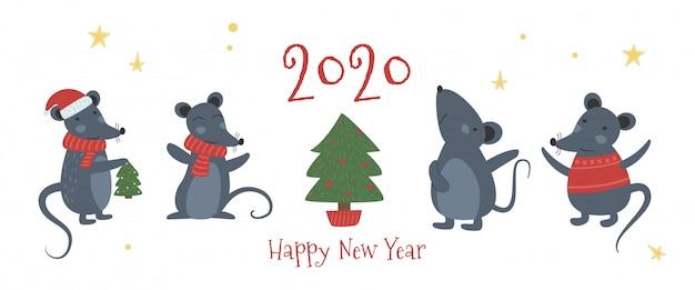 クリスマスマウス、チーズ帽子スカーフギフトハート弓。