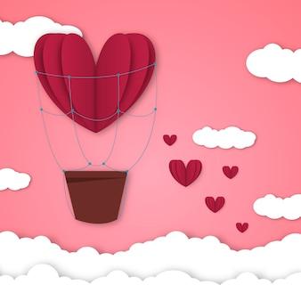 Бумажные сердца день святого валентина вектор любовь арт карта оригами стиль