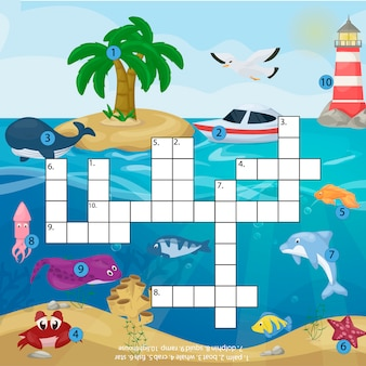 海の水中の海の魚と動物の論理的なワークシートのカラフルな印刷可能なイラストのクロスワード子供雑誌本パズルゲーム。