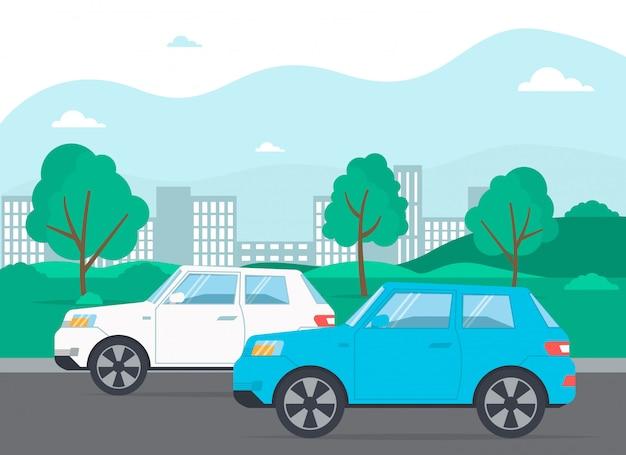 Автомобили на дороге, городской пейзаж, улица