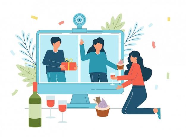 Онлайн вечеринка, день рождения, встреча друзей. люди вместе пьют вино в карантине.