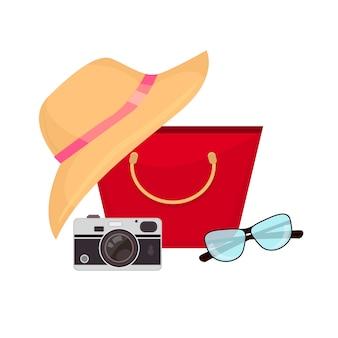 夏用アクセサリー、水着、サングラス、バッグ、ビーチサンダル。