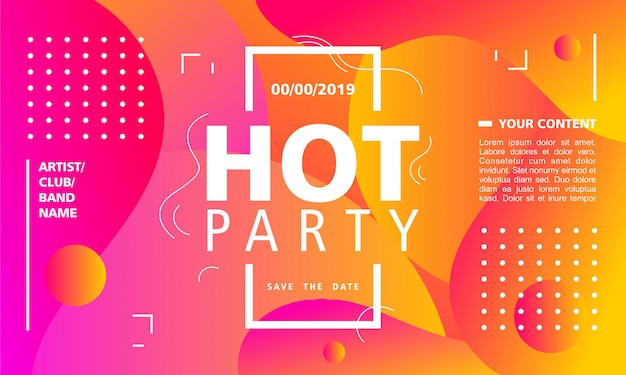 Горячая вечеринка плакат дизайн шаблона на современном абстрактном фоне