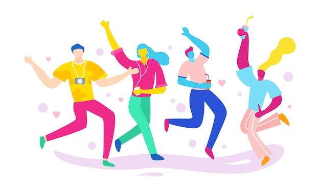 一緒に踊り、楽しんで、パーティーをする人々のグループ
