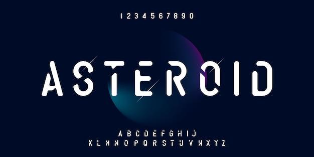 小惑星のミニマリストのアルファベット現代フォントと数字セット