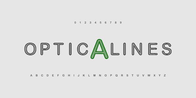 抽象的な芸術的なストライプアルファベット。細い線のフォント