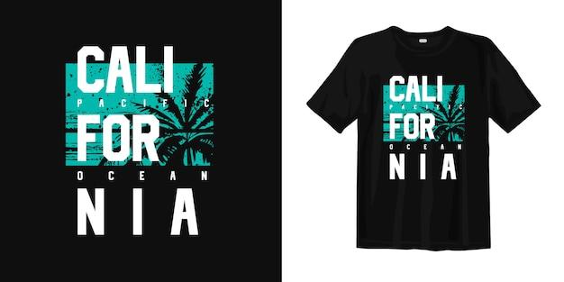 Футболка с изображением калифорнии и тихого океана с силуэтом пальмы