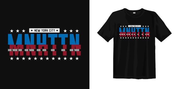 Манхэттен типографский стиль футболки