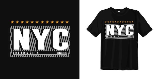 Город мечты нью-йорка. абстрактная геометрическая футболка