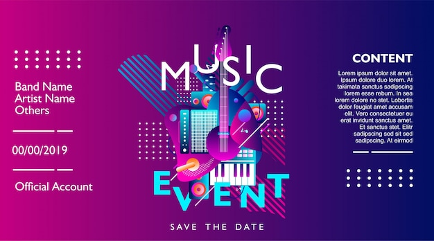 Музыкальное событие баннер дизайн шаблона для фестиваля, концерта и вечеринки.