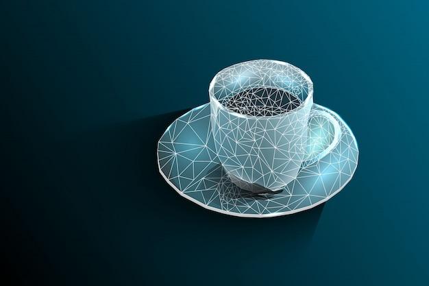 コーヒーカップ。ティーカップ線と図形からなるベクトル多角形画像。