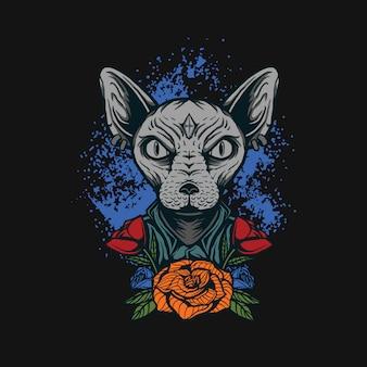 Сфинкс кошка футболка дизайн