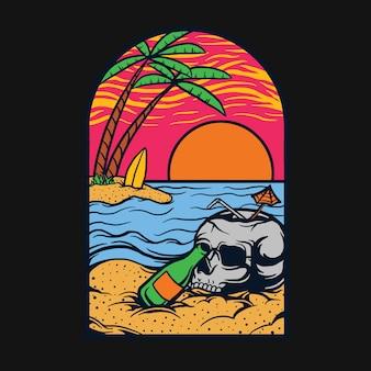 Отдых в пляжной футболке дизайн