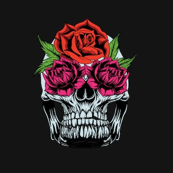 Дизайн футболки с черепом и розами
