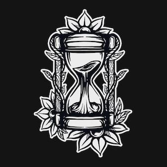 Песочные часы футболка дизайн