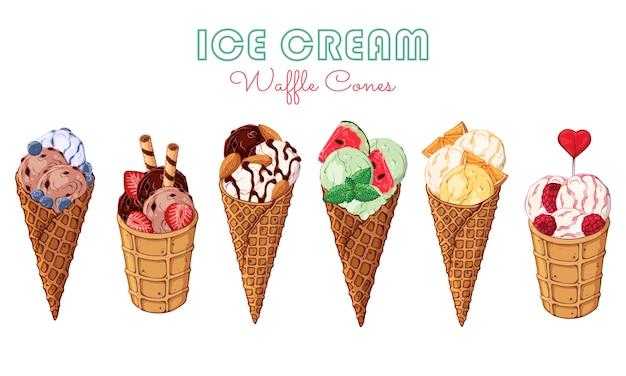 Векторное мороженое, украшенное ягодами, шоколадом или орехами.
