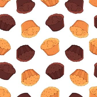 お菓子のテーマのパターン:カップケーキ。