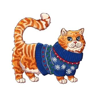 Кошка в свитере. мультипликационный персонаж. домашнее животное.