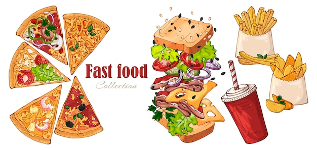 Вектор фаст-фуд: бутерброд, деревенский картофель, пицца, напитки.