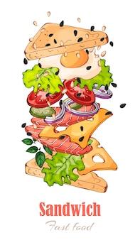Векторные иллюстрации на тему быстрого питания: бутерброд.