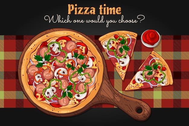Пицца на доске.