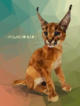 低ポリゴンスタイルのベクトル図です。子猫のカラカル。