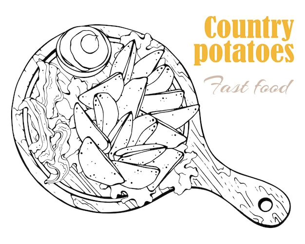 Вектор. тема фаст-фуда: деревенский картофель на доске.