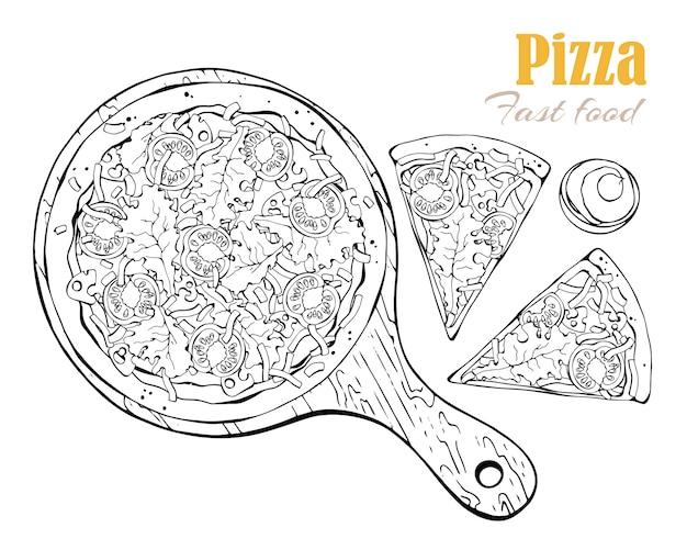 Вектор. тема фаст-фуда: пицца на доске.