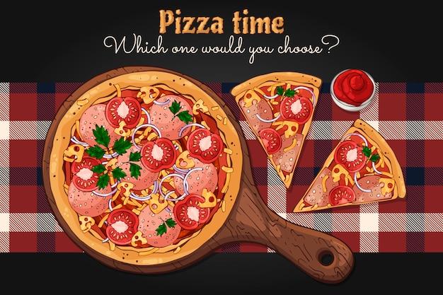 ベクター。ファーストフードのテーマ:ボード上のピザ