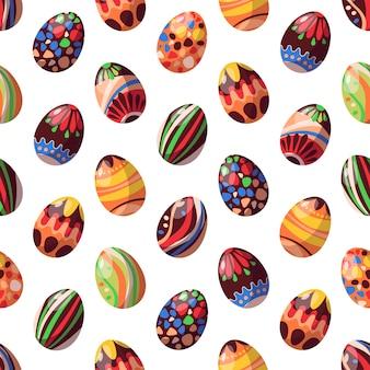 イースターをテーマにしたシームレスなパターンベクトル。チョコレートの卵