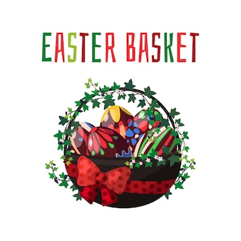 ベクター。チョコレート色の卵と春の花のイースターバスケット。