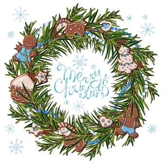 クリスマスツリーの緑の枝の花輪