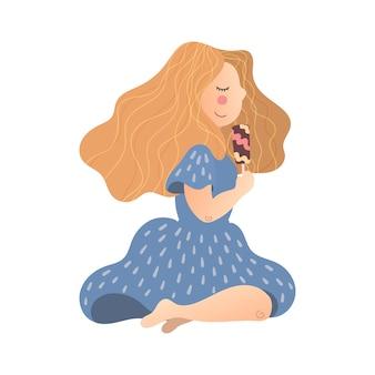 Вектор плоская рука нарисованные девушка с мороженым в руке.