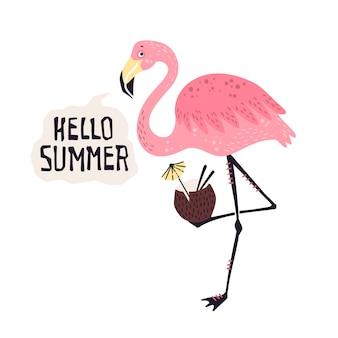 Вектор милый фламинго с тропическим коктейлем. надпись: привет, лето.