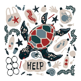 Вектор плоская рука нарисованные черепаха в окружении морского мусора и отходов.